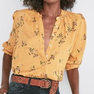NWOT Lucky Brand Printed Yellow Mustard Shirt M